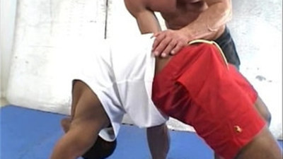 Old muscleman lets a huge monster black shaft up his ass