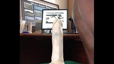 Black man riding huge white dildo