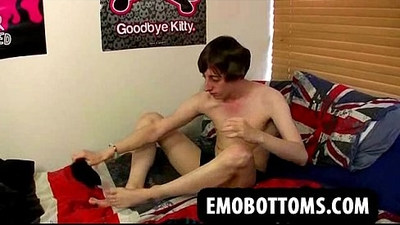 Alone this sexy emo punk twink is masturbating